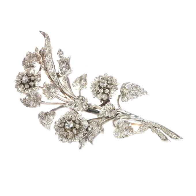 Antique French diamond branch brooch with 165 diamonds by Unknown Artist