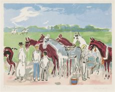 Polo or Deauville, Grooming the horses by Kees van Dongen