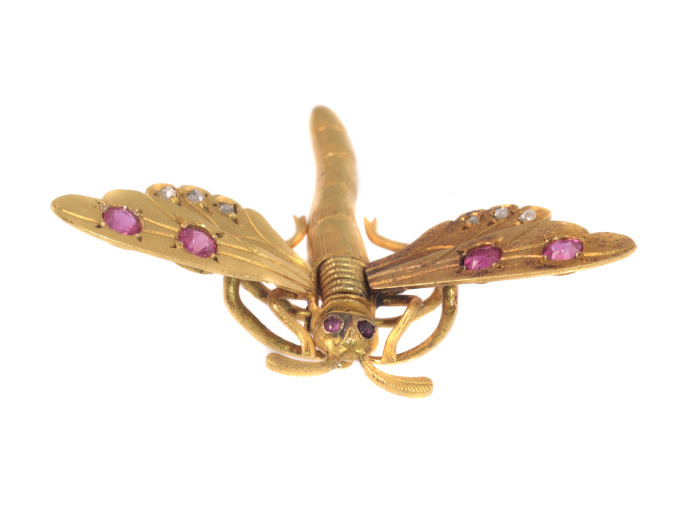 Antique Victorian hair clip brooch 18K gold dragonfly rose cut diamonds rubies by Unknown Artist