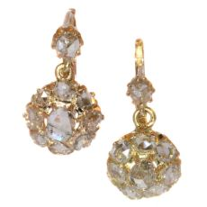Vintage and antique rose cut diamond earrings in pink gold by Unknown Artist