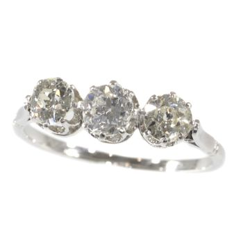 Art Deco Platinum 3-stone inline ring with diamonds by Unknown Artist