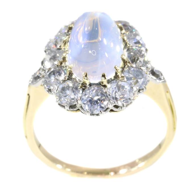 Late Victorian blueish moonstone and brilliant cut diamonds engagement ring by Unknown Artist