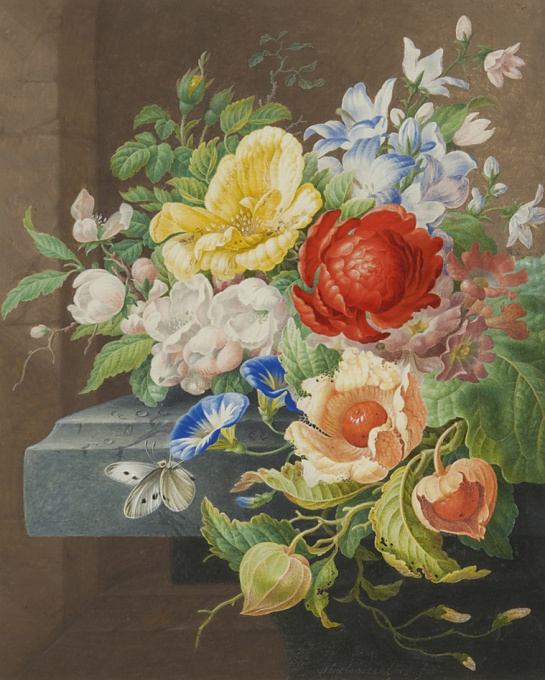 Still life with flowers and a butterfly by Herman Henstenburgh