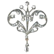 Victorian silver gold backed brooch set with rose cut diamonds by Unknown Artist