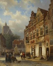 Koopmanstraat and Market in Brielle by Cornelis Springer