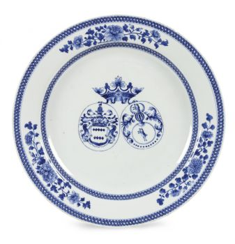 A LARGE CHINESE ARMORIAL EXPORT BLUE AND WHITE PORCELAIN 'VAN DER DOES - STEIN VAN GOLLENESSE' CHARGER by Unknown Artist