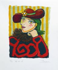 Woman in a straw hat with flower III - I