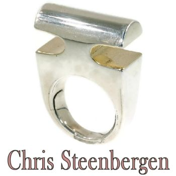 Artist Jewelry Chris Steenbergen silver and gold ring by Unknown Artist