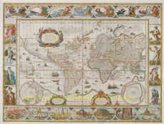 World map Mercator projection Willem Blaeu by Willem Janszoon Blaeu
