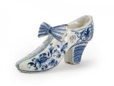 A Delft Blue and White slipper