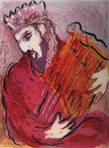 David a La Harpe by Marc Chagall