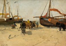 Fisherman, boats and horses on the beach by Gerhard Arij Ludwig 'Morgenstjerne' Munthe
