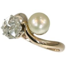 Late Victorian toi et moi antique ring with big rose cut diamond and pearl by Unknown Artist