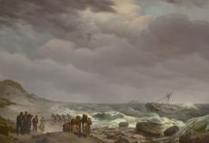 Shipwreck at the South African coast, Tsaarsbank, with the Table Mountain in the distance by Johannes Hermanus Koekkoek
