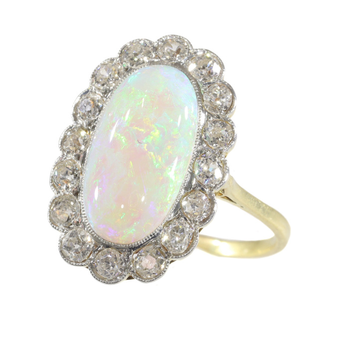 Vintage opal and diamond engagement ring by Unknown Artist