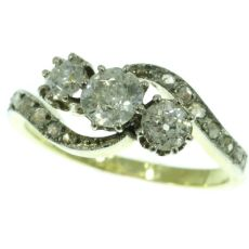 Victorian diamond cross-over ring engagement ring by Unknown Artist
