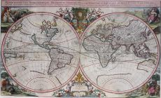 Rare, large, decorative double hemisphere map of the world, engraved by Sigmund Gabriel Hipschmann by Sigmund Gabriel Hipschmann Hipschmann