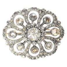 Typical Dutch antique rose cut diamond jewel brooch by Unknown Artist