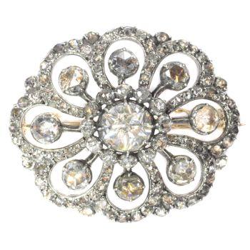 Typical Dutch antique rose cut diamond jewel brooch by Unknown Artist