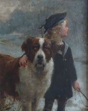 Young sailer with dog by Otto Eerelman