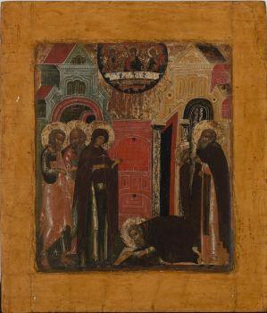No 6 Vision of Saint Sergius of Radonez Icon by Unknown Artist
