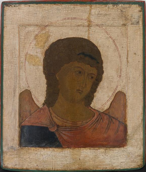 No 9 Archangel Michael Portrait Icon by Unknown Artist