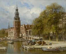 The Montelbaanstoren near the Kalkmarktsluis, Amsterdam by Johannes Christiaan Karel Klinkenberg