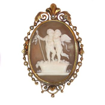 Victorian cameo brooch/pendant with locket depicting Cupid and Bacchus Stomp Grapes, Autumn after Thorvaldsen by Unknown Artist