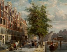 View on den Leidschegracht near the Heerengracht around the year 1670 by Cornelis Springer