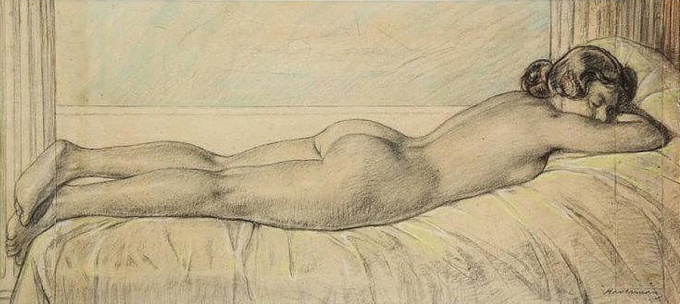 Reclining female nude by Hendrik J. Haverman