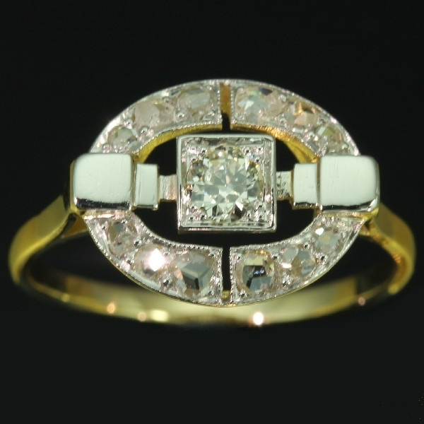 Art Deco diamond ring in two tone gold by Unknown Artist
