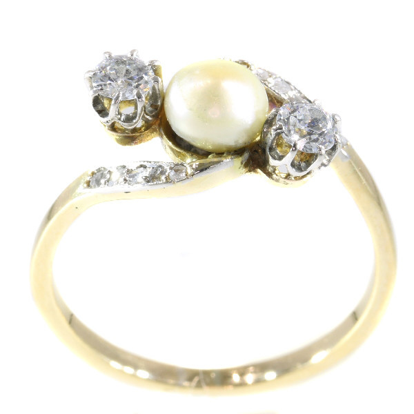 Vintage Belle Epoque diamond and pearl ring by Unknown