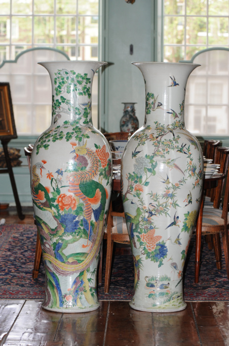 Rare pair of colossal Chinese Famille Rose vases, ca. 1900 by Unknown Artist