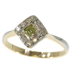 Original antique Art Deco natural fancy color diamond engagement ring by Unknown