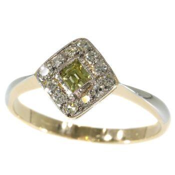 Original antique Art Deco natural fancy color diamond engagement ring by Unknown Artist
