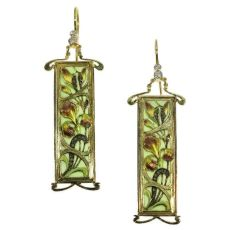 Plique ajour enamel Art Nouveau stained glass window earrings emaille a fenetre by Unknown Artist