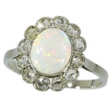 Art Deco diamond and opal ring by Unknown Artist
