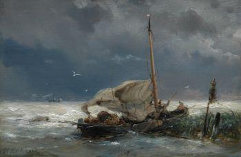 Fishing boat and steamer in a storm by Hermanus Koekkoek