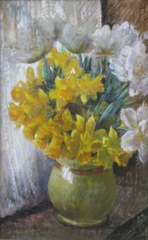 Springflowers in a vase by Willem Elisa Roelofs