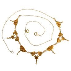 Romantic antique necklace with rose garlands and orient seed pearls by Unknown Artist