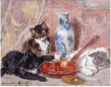 'Drie poezen bij een kandelaar' by Henriëtte Ronner-Knip
