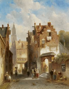 Market day in a Dutch town by Charles Leickert