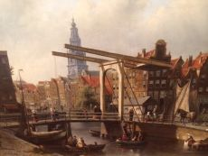 Town-view on Amsterdam, the Zuiderkerk by Johannes Franciscus Spohler