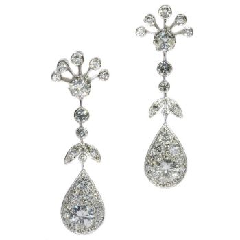 Vintage long pendent platinum cocktail ear jewels abundantly set with diamonds by Unknown Artist