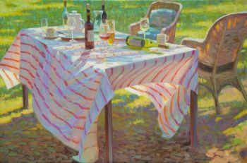 Onder de Kersenbloesem - Under the Cherry Blossom - Oil on Linnen - In Stock by Juane Xue
