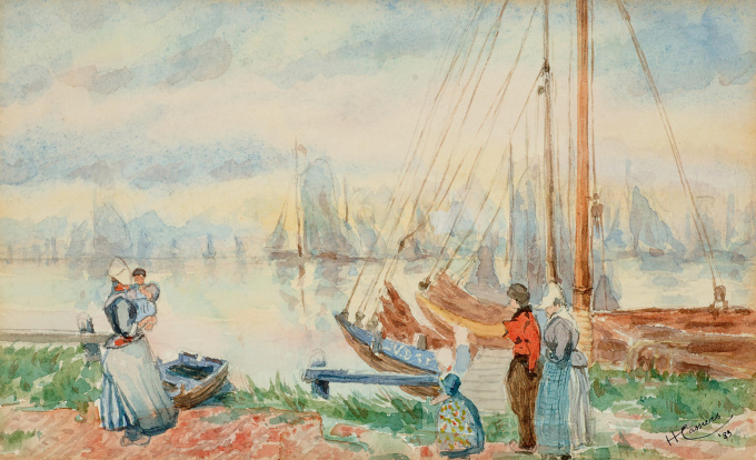 The harbour of Volendam by Henri Cassiers