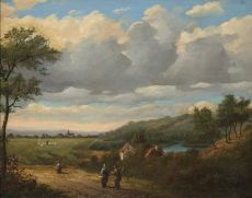 Summer Landscape with Travellers by Jan van der Waarden