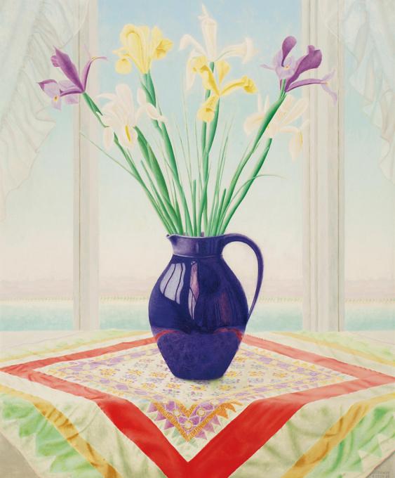 Still life with iris in a purple vase by Lodewijk Johannes Bosch
