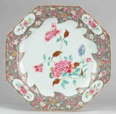 Rare 8 sided Famille Rose charger with flower decoration