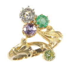 Antique ring typical so-called Suffragette diamond ring with precious stones by Unknown